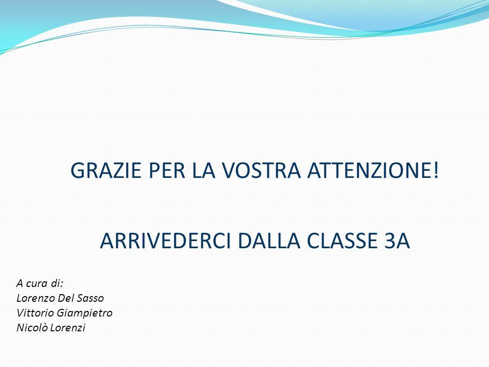 GRAZIE PER LA VOSTRA ATTENZIONE! ARRIVEDERCI DALLA CLASSE 3A A cura di: Lorenzo Del Sasso Vittorio Giampietro Nicolò Lorenzi