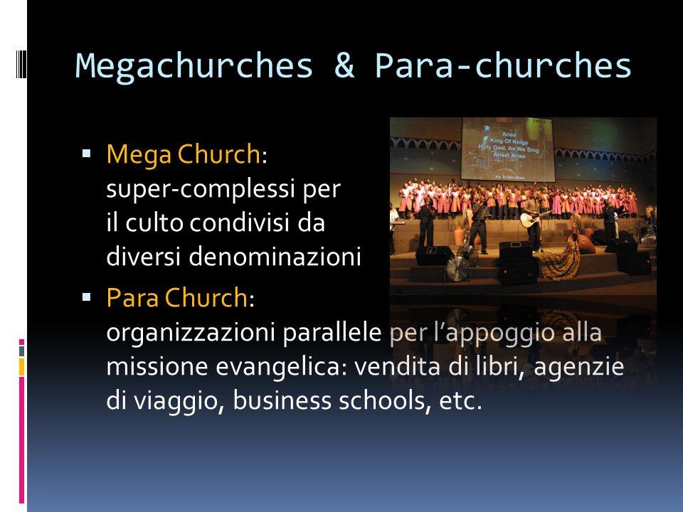Megachurches & Para-churches Mega Church: super-complessi per il culto condivisi da diversi denominazioni Para Church: organizzazioni parallele per lappoggio alla missione evangelica: vendita di libri, agenzie di viaggio, business schools, etc.