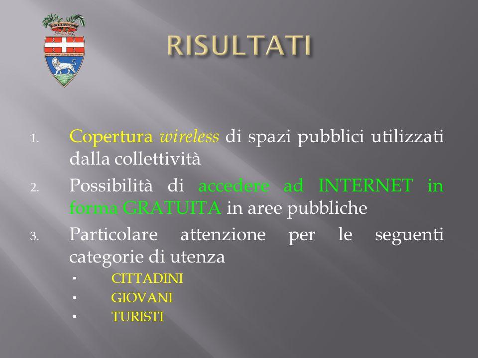1. Copertura wireless di spazi pubblici utilizzati dalla collettività 2.