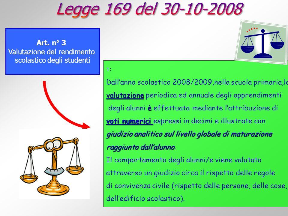 Art. n° 3 Valutazione del rendimento scolastico degli studenti 1 : Dallanno scolastico 2008/2009,nella scuola primaria,la valutazione valutazione peri