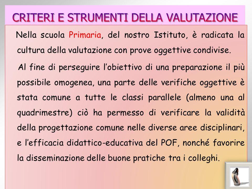 Nella scuola Primaria, del nostro Istituto, è radicata la cultura della valutazione con prove oggettive condivise.