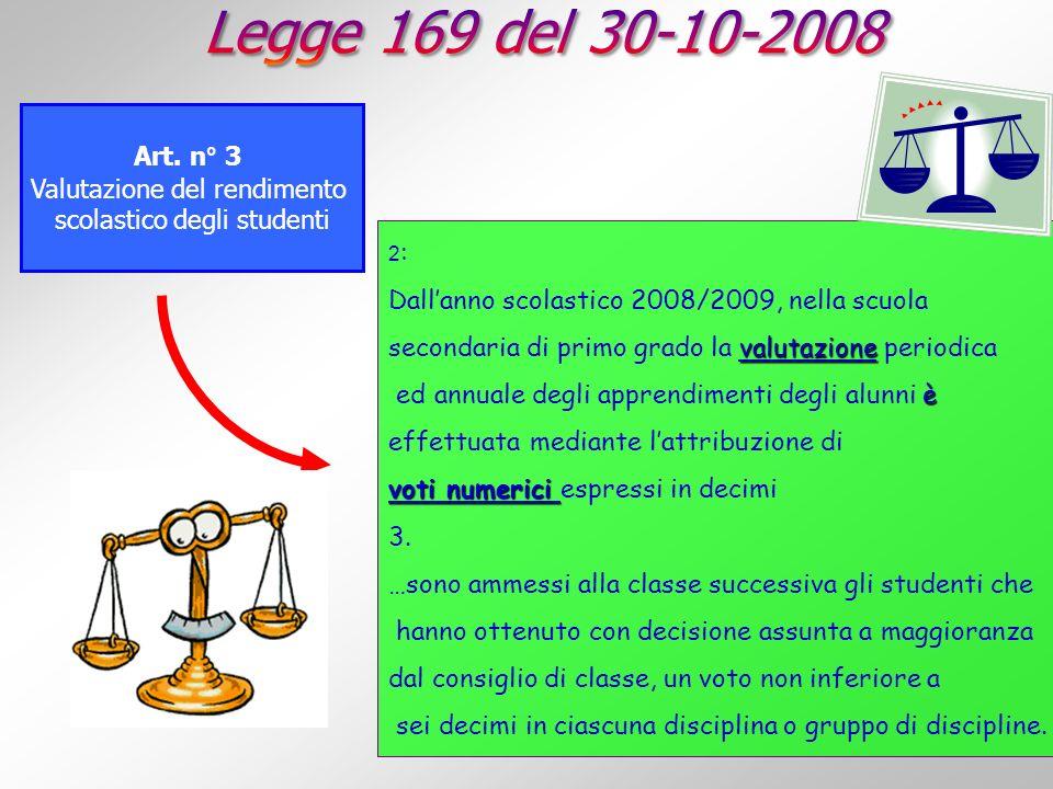 Art. n° 3 Valutazione del rendimento scolastico degli studenti 2 : Dallanno scolastico 2008/2009, nella scuola valutazione secondaria di primo grado l