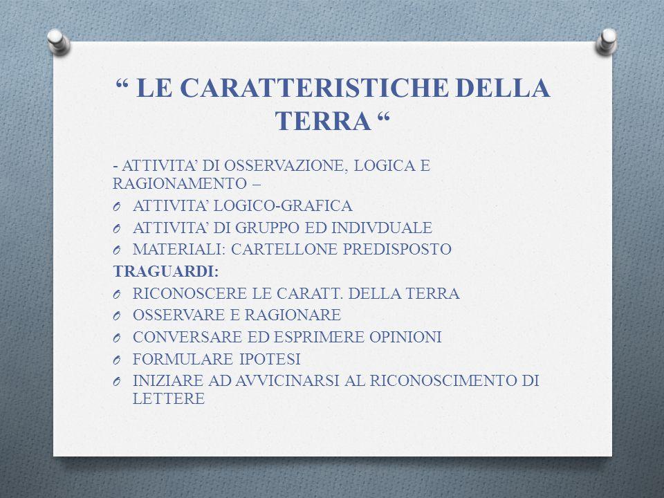 LE CARATTERISTICHE DELLA TERRA - ATTIVITA DI OSSERVAZIONE, LOGICA E RAGIONAMENTO – O ATTIVITA LOGICO-GRAFICA O ATTIVITA DI GRUPPO ED INDIVDUALE O MATERIALI: CARTELLONE PREDISPOSTO TRAGUARDI: O RICONOSCERE LE CARATT.