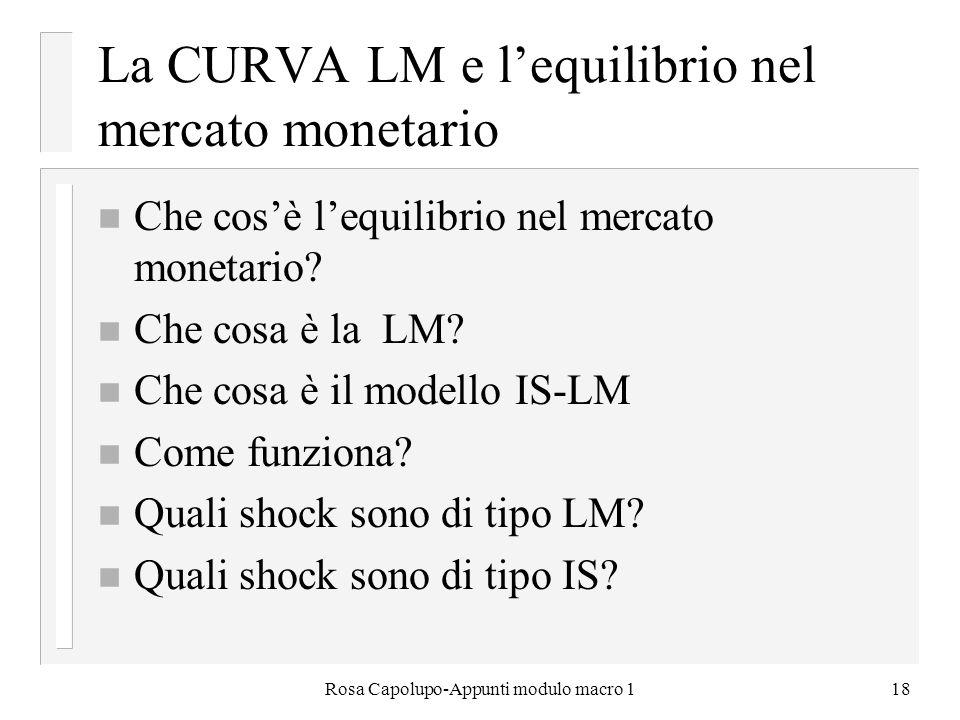 Rosa Capolupo-Appunti modulo macro 118 La CURVA LM e lequilibrio nel mercato monetario n Che cosè lequilibrio nel mercato monetario? n Che cosa è la L