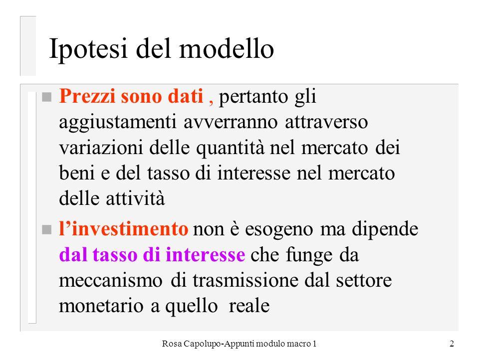 Rosa Capolupo-Appunti modulo macro 12 Ipotesi del modello n Prezzi sono dati, pertanto gli aggiustamenti avverranno attraverso variazioni delle quanti