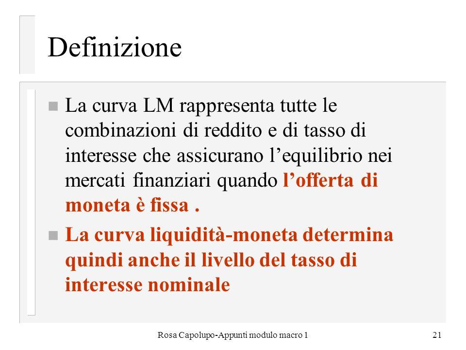 Rosa Capolupo-Appunti modulo macro 121 Definizione n La curva LM rappresenta tutte le combinazioni di reddito e di tasso di interesse che assicurano l