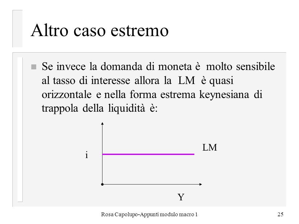 Rosa Capolupo-Appunti modulo macro 125 Altro caso estremo n Se invece la domanda di moneta è molto sensibile al tasso di interesse allora la LM è quas