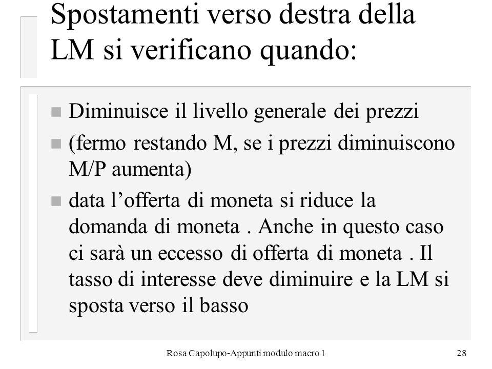 Rosa Capolupo-Appunti modulo macro 128 Spostamenti verso destra della LM si verificano quando: n Diminuisce il livello generale dei prezzi n (fermo re