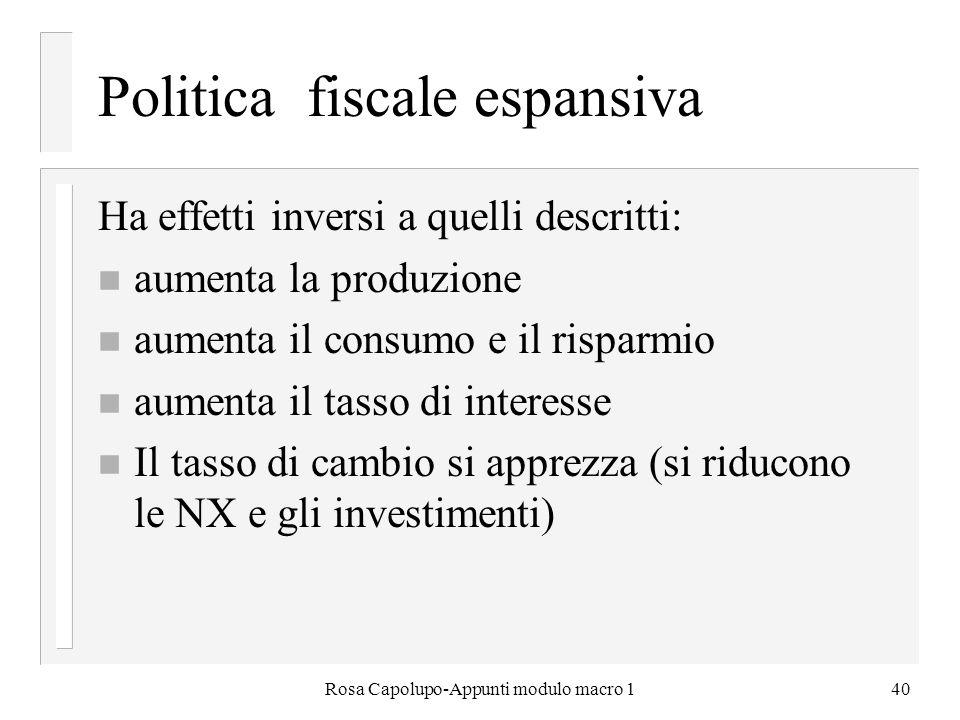Rosa Capolupo-Appunti modulo macro 140 Politica fiscale espansiva Ha effetti inversi a quelli descritti: n aumenta la produzione n aumenta il consumo