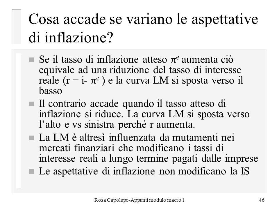Rosa Capolupo-Appunti modulo macro 146 Cosa accade se variano le aspettative di inflazione? n Se il tasso di inflazione atteso e aumenta ciò equivale
