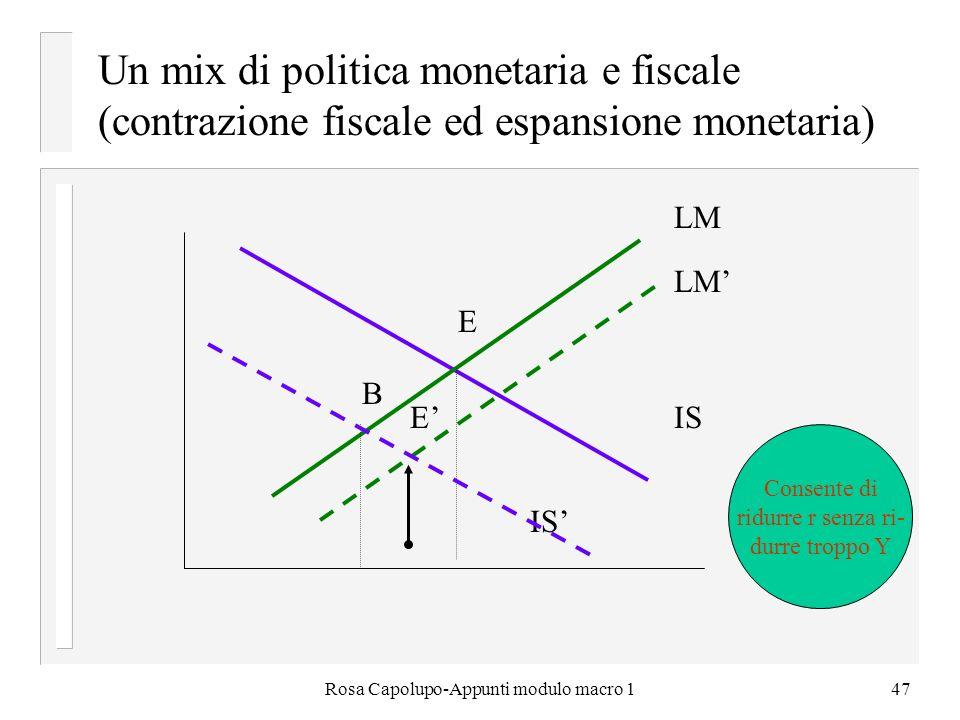 Rosa Capolupo-Appunti modulo macro 147 Un mix di politica monetaria e fiscale (contrazione fiscale ed espansione monetaria) IS LM E B E Consente di ri