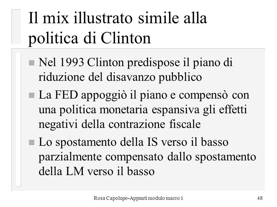 Rosa Capolupo-Appunti modulo macro 148 Il mix illustrato simile alla politica di Clinton n Nel 1993 Clinton predispose il piano di riduzione del disav