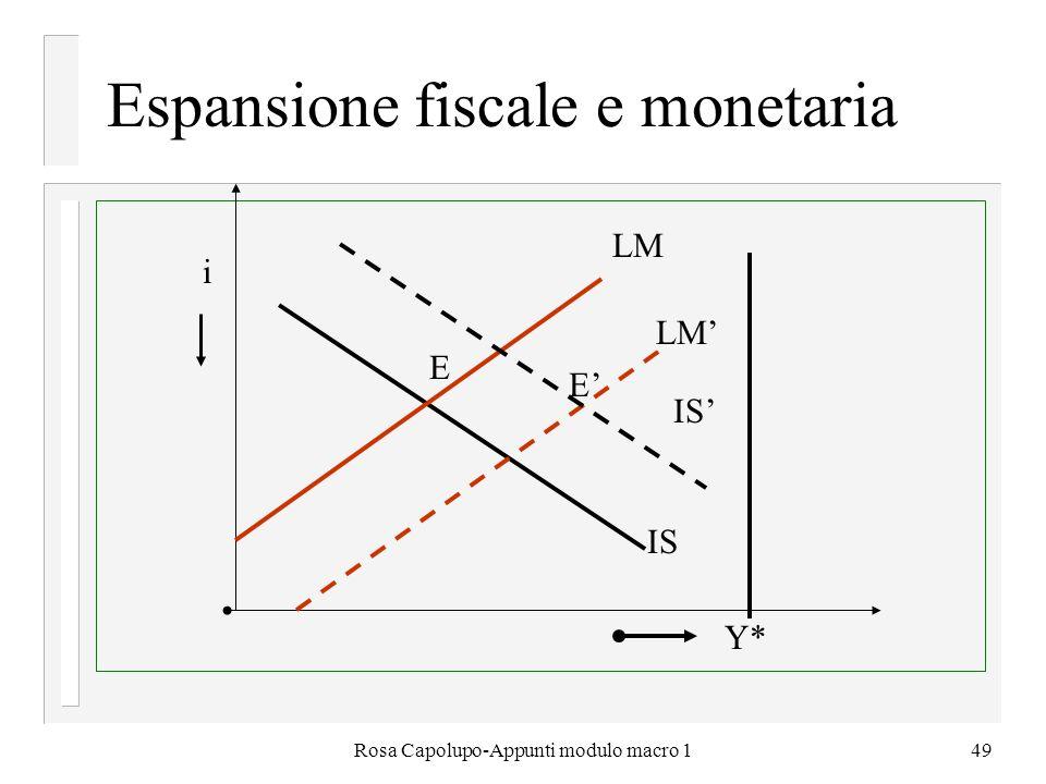 Rosa Capolupo-Appunti modulo macro 149 Espansione fiscale e monetaria E Y* IS LM i E