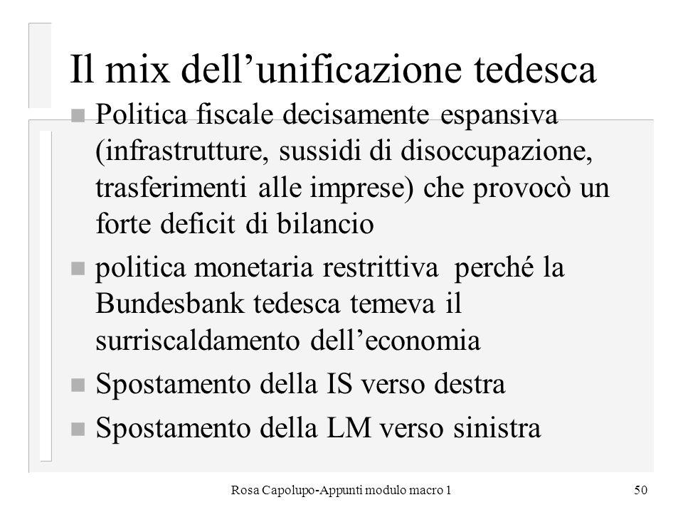 Rosa Capolupo-Appunti modulo macro 150 Il mix dellunificazione tedesca n Politica fiscale decisamente espansiva (infrastrutture, sussidi di disoccupaz