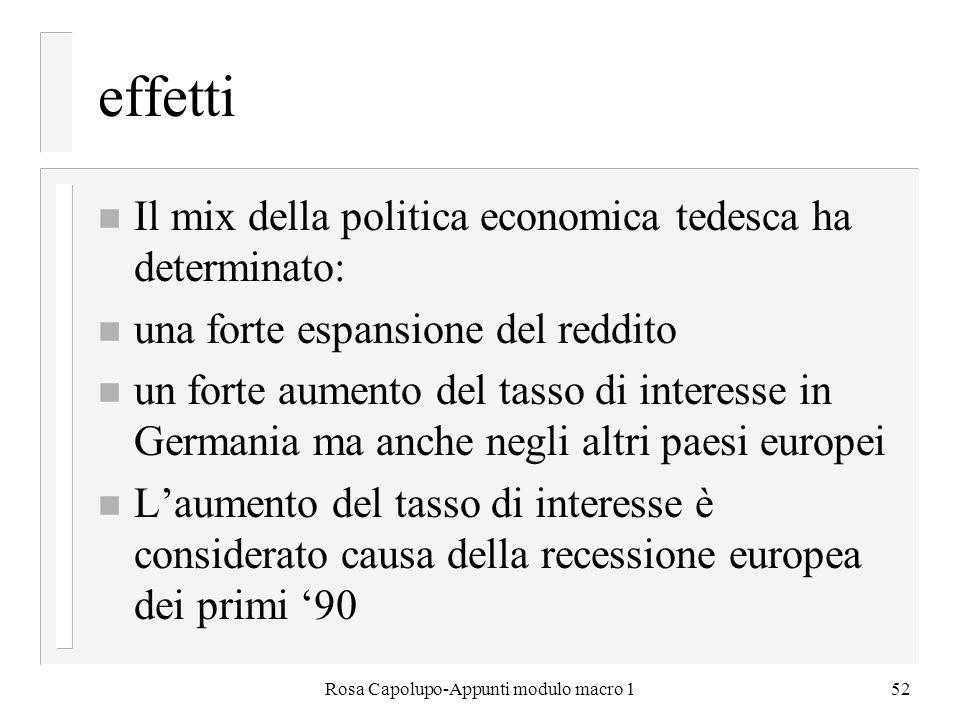 Rosa Capolupo-Appunti modulo macro 152 effetti n Il mix della politica economica tedesca ha determinato: n una forte espansione del reddito n un forte