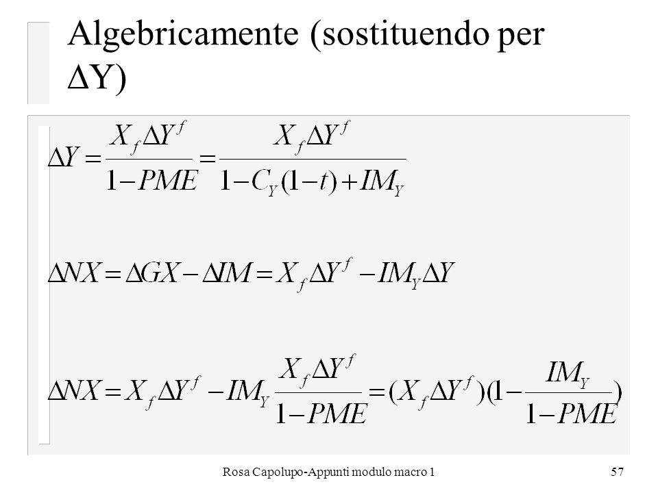 Rosa Capolupo-Appunti modulo macro 157 Algebricamente (sostituendo per Y)