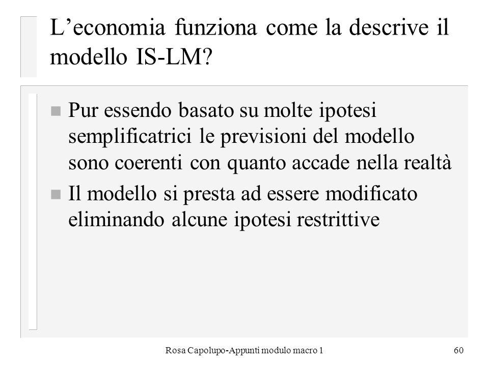 Rosa Capolupo-Appunti modulo macro 160 Leconomia funziona come la descrive il modello IS-LM? n Pur essendo basato su molte ipotesi semplificatrici le