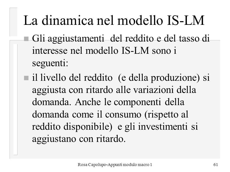 Rosa Capolupo-Appunti modulo macro 161 La dinamica nel modello IS-LM n Gli aggiustamenti del reddito e del tasso di interesse nel modello IS-LM sono i