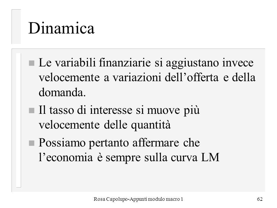 Rosa Capolupo-Appunti modulo macro 162 Dinamica n Le variabili finanziarie si aggiustano invece velocemente a variazioni dellofferta e della domanda.