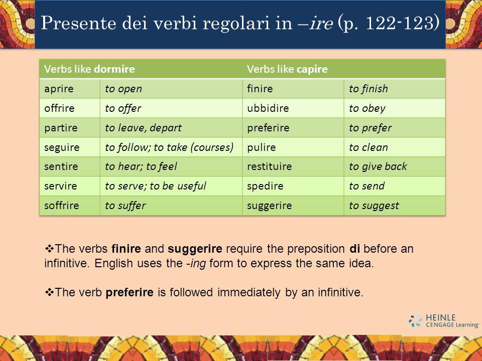 Presente dei verbi regolari in –ire (p. 122-123) The verbs finire and suggerire require the preposition di before an infinitive. English uses the -ing