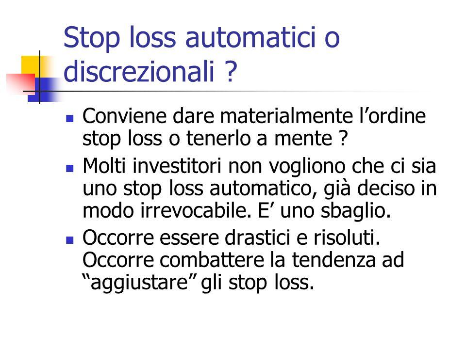Stop loss automatici o discrezionali .