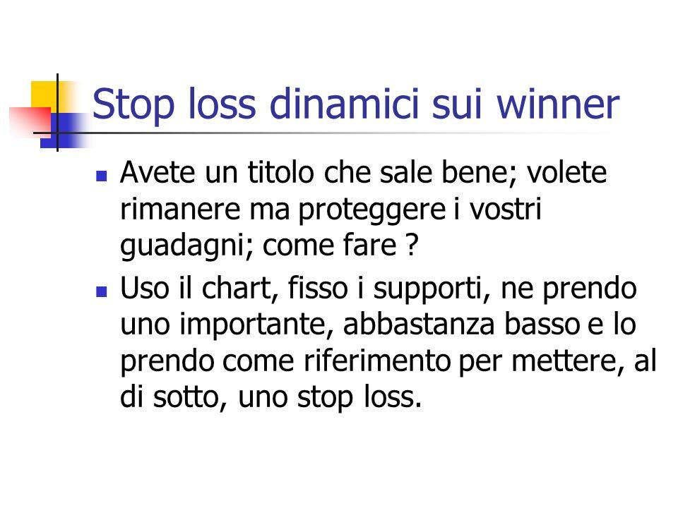 Stop loss dinamici sui winner Avete un titolo che sale bene; volete rimanere ma proteggere i vostri guadagni; come fare .