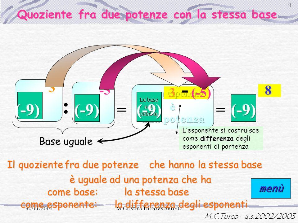 M.C.Turco - a.s.2002/2003 30/11/2001M.Cristina Turco as2001/02 10 = 3 -5 La base non cambia + (-5) = -2-2-2-2 Base uguale Lesponente si costruisce com