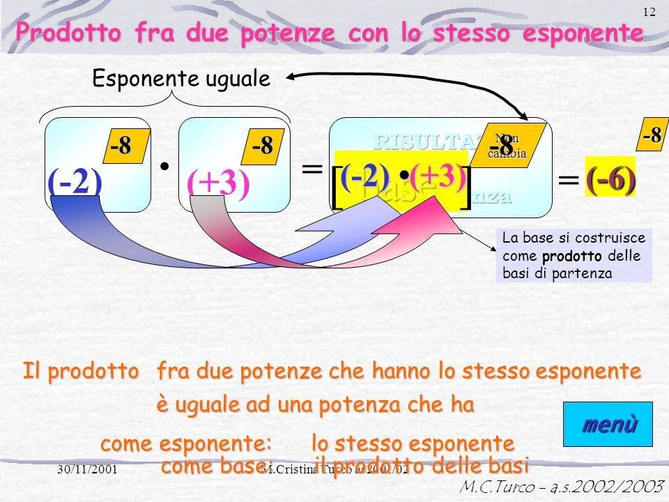 M.C.Turco - a.s.2002/2003 30/11/2001M.Cristina Turco as2001/02 11 = 3 -5 La base non cambia - (-5) =8 Base uguale Lesponente si costruisce come differ