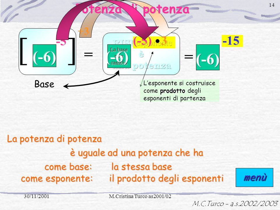 M.C.Turco - a.s.2002/2003 30/11/2001M.Cristina Turco as2001/02 13 (-2) (-5) Esponente uguale Non cambia =:(-2)(-5) -8-8-8 La base si costruisce come q