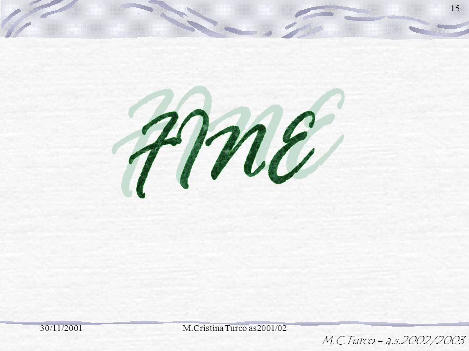 M.C.Turco - a.s.2002/2003 30/11/2001M.Cristina Turco as2001/02 14 = La base non cambia · (-5) =-15 Base Lesponente si costruisce come prodotto prodott