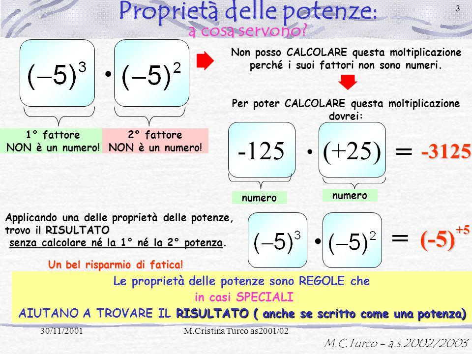 M.C.Turco - a.s.2002/2003 30/11/2001M.Cristina Turco as2001/02 2PROPRIETA= regole Proprietà delle potenze solo Si usano solo in CASI PARTICOLARI perme