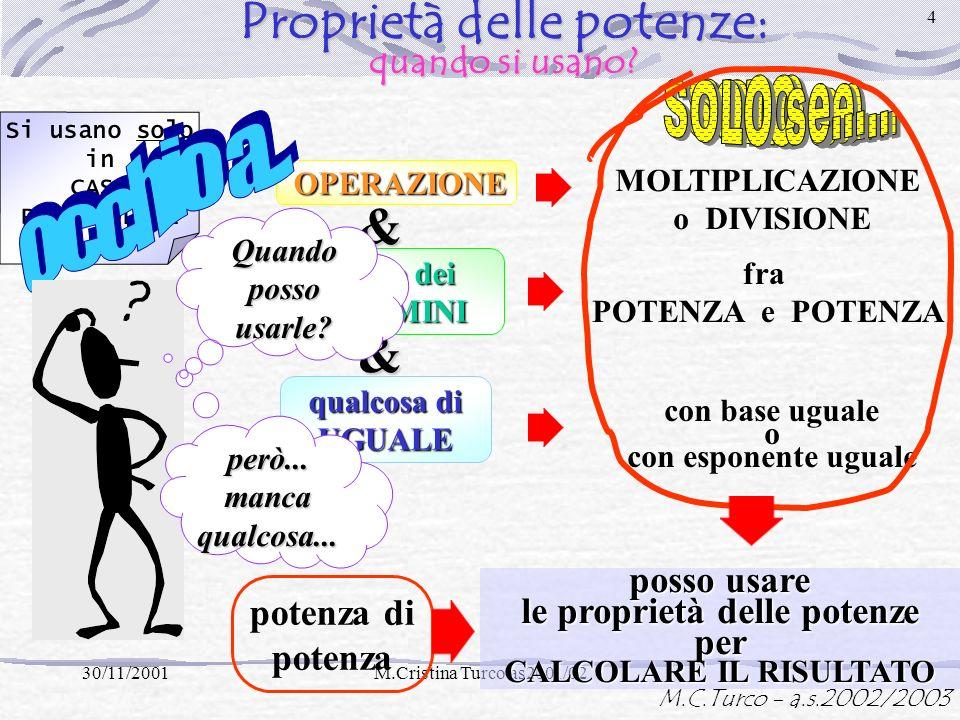 M.C.Turco - a.s.2002/2003 30/11/2001M.Cristina Turco as2001/02 3 Proprietà delle potenze: a cosa servono? 1° fattore NON è un numero! Non posso CALCOL