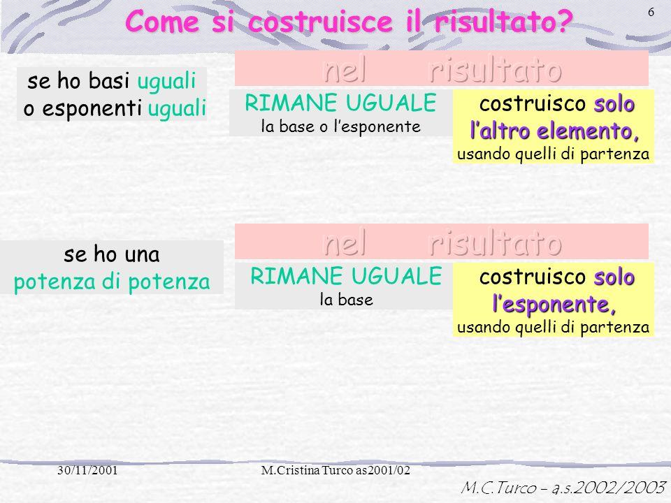 M.C.Turco - a.s.2002/2003 30/11/2001M.Cristina Turco as2001/02 5 In quali casi posso usare le proprietà delle potenze? Moltiplicazione fra potenza e p