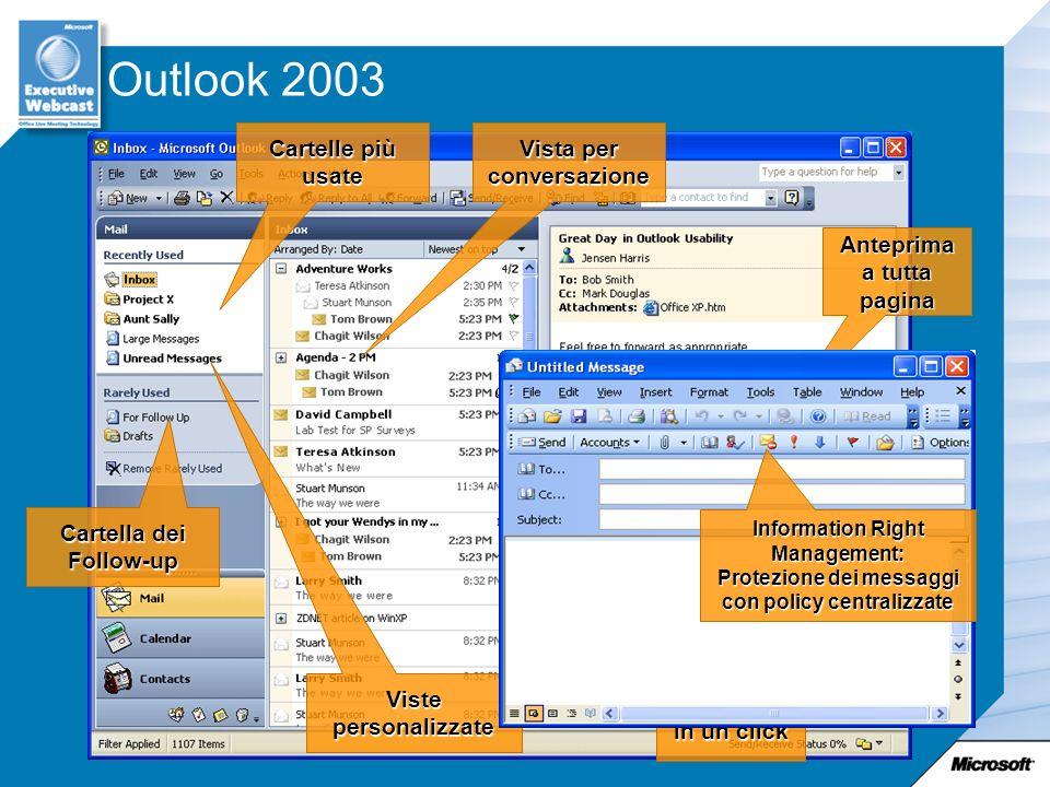 Outlook 2003 Anteprima a tutta pagina Follow-up in un click Cartelle più usate Vista per conversazione Cartella dei Follow-up Viste personalizzate Information Right Management: Protezione dei messaggi con policy centralizzate