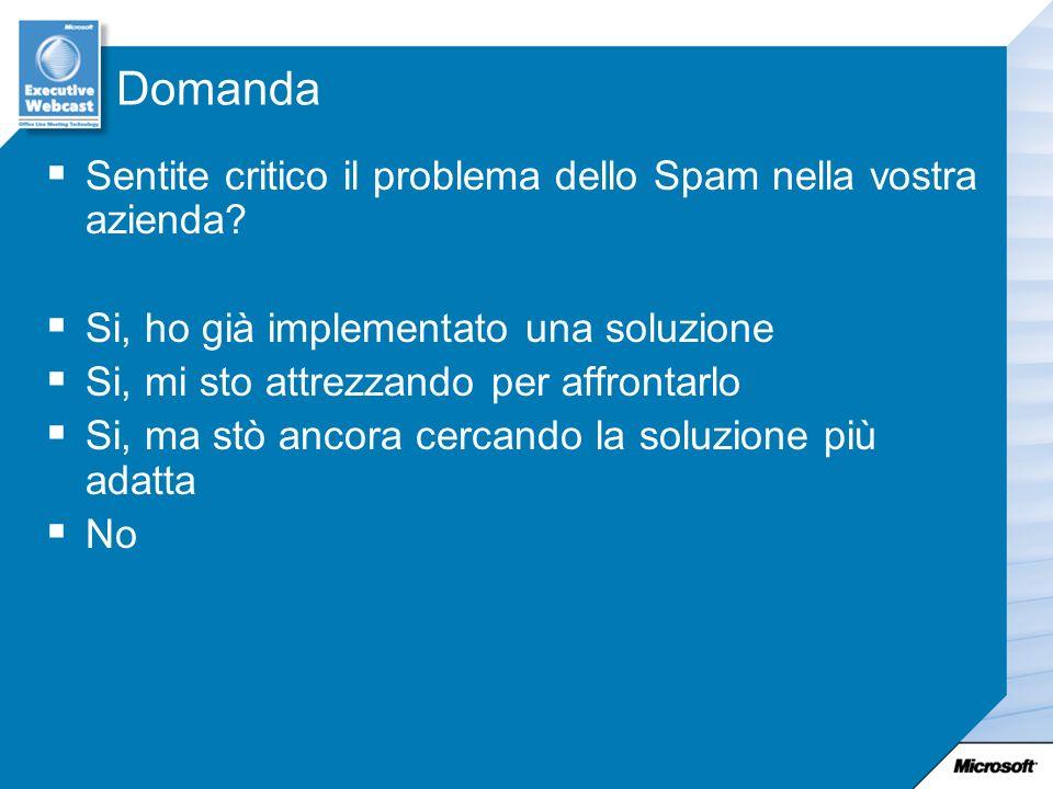 Domanda Sentite critico il problema dello Spam nella vostra azienda? Si, ho già implementato una soluzione Si, mi sto attrezzando per affrontarlo Si,