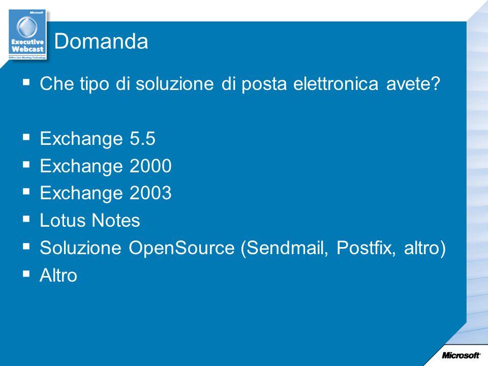 Domanda Che tipo di soluzione di posta elettronica avete? Exchange 5.5 Exchange 2000 Exchange 2003 Lotus Notes Soluzione OpenSource (Sendmail, Postfix