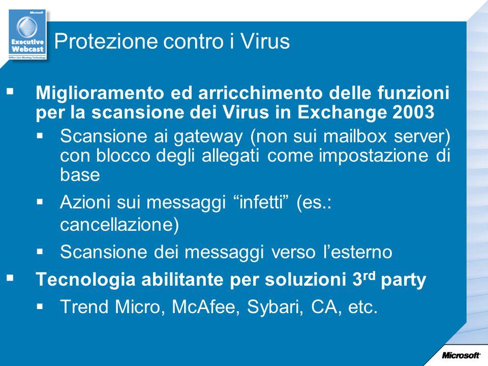 Protezione contro i Virus Miglioramento ed arricchimento delle funzioni per la scansione dei Virus in Exchange 2003 Scansione ai gateway (non sui mail