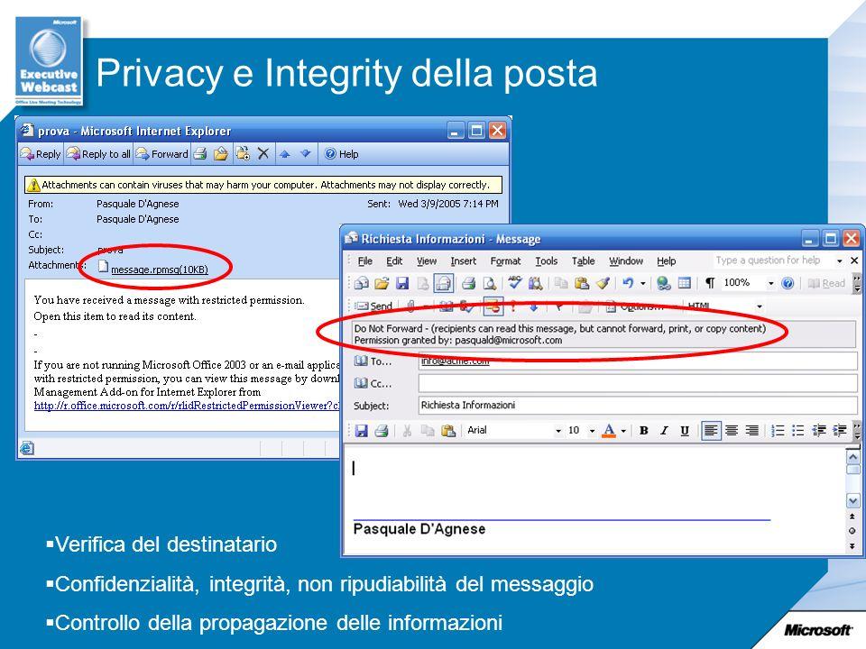 Privacy e Integrity della posta Verifica del destinatario Confidenzialità, integrità, non ripudiabilità del messaggio Controllo della propagazione delle informazioni