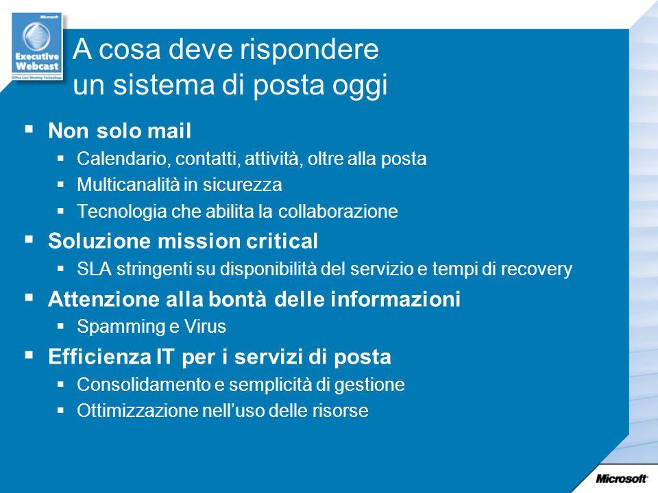 Non solo mail Calendario, contatti, attività, oltre alla posta Multicanalità in sicurezza Tecnologia che abilita la collaborazione Soluzione mission c