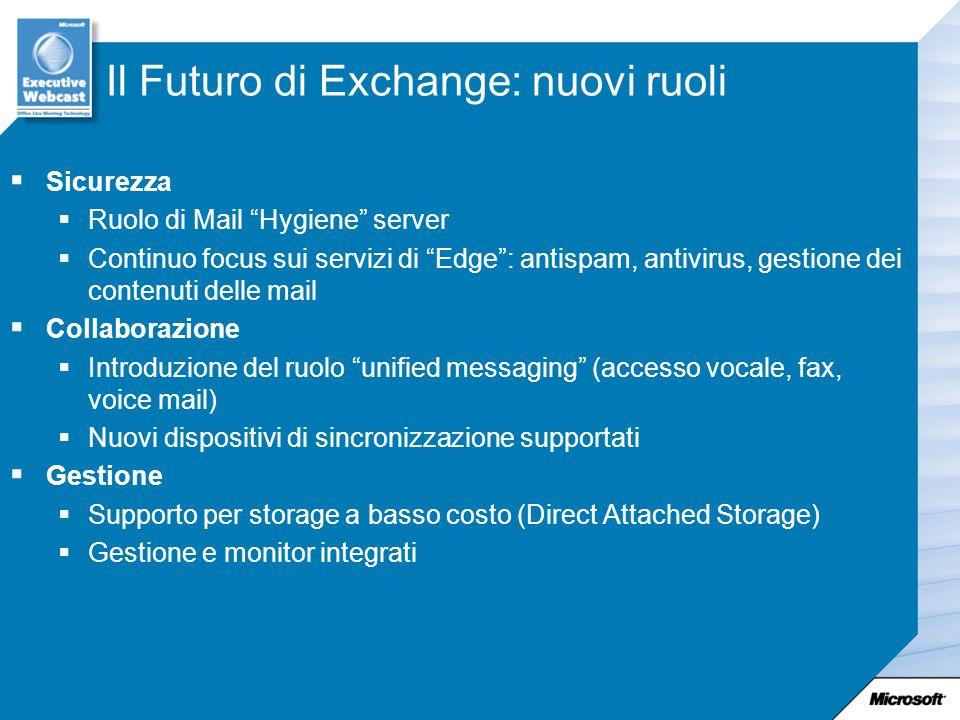 Il Futuro di Exchange: nuovi ruoli Sicurezza Ruolo di Mail Hygiene server Continuo focus sui servizi di Edge: antispam, antivirus, gestione dei conten