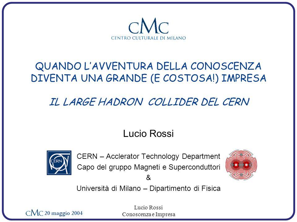 20 maggio 2004 Lucio Rossi Conoscenza e Impresa quattro gigantesche caverne sotterranee ospiteranno rivelatori enormi fascio di energia mai raggiunta: 14 TeV c.o.m intensità dei fasci di ordini di grandezza piu elevati Circa 40.000 ton saranno a 1.9 K, a temperatura inferiore al freddo cosmico LHC sarà il più potente microscopio per le particelle elementari