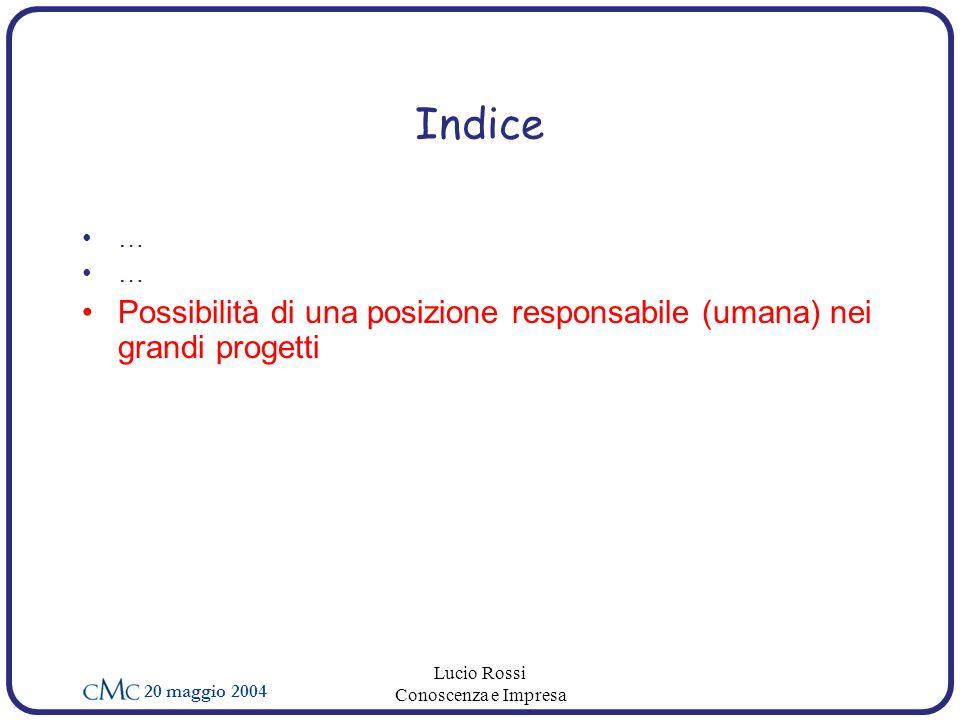 20 maggio 2004 Lucio Rossi Conoscenza e Impresa Indice … Possibilità di una posizione responsabile (umana) nei grandi progetti