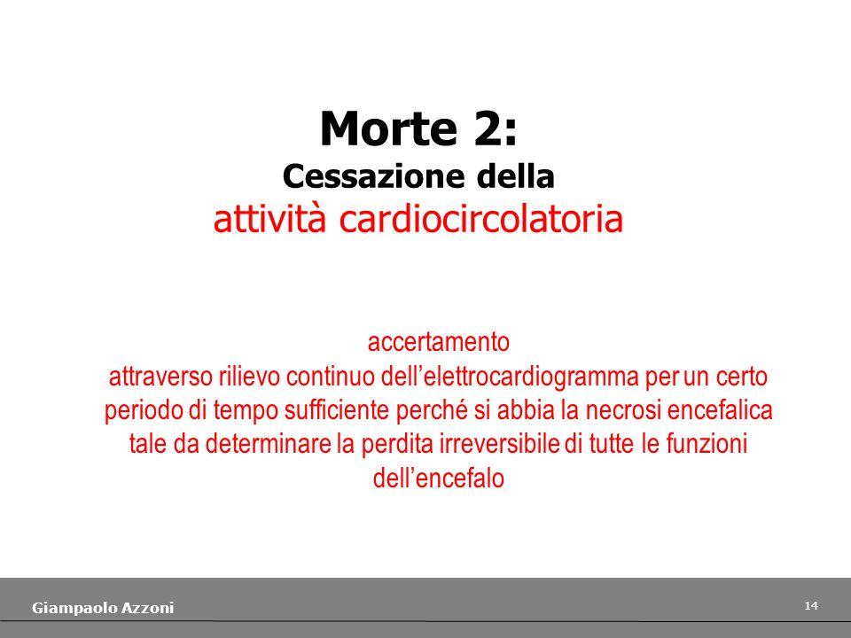 14 Giampaolo Azzoni Morte 2: Cessazione della attività cardiocircolatoria accertamento attraverso rilievo continuo dellelettrocardiogramma per un cert