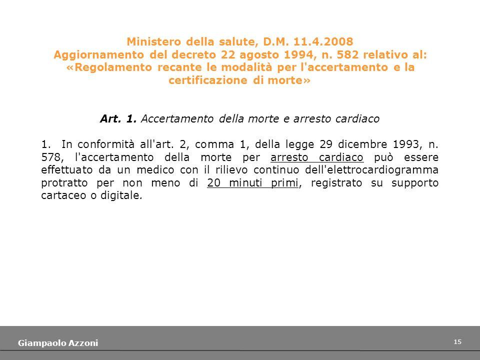 15 Giampaolo Azzoni Ministero della salute, D.M. 11.4.2008 Aggiornamento del decreto 22 agosto 1994, n. 582 relativo al: «Regolamento recante le modal