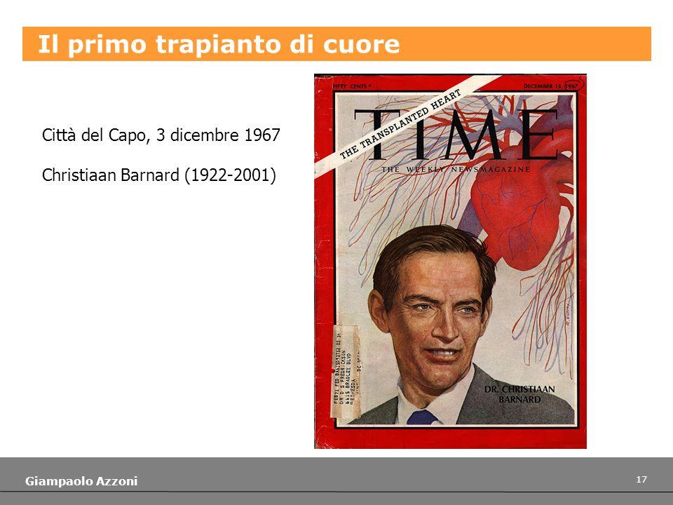 17 Giampaolo Azzoni Il primo trapianto di cuore Città del Capo, 3 dicembre 1967 Christiaan Barnard (1922-2001)