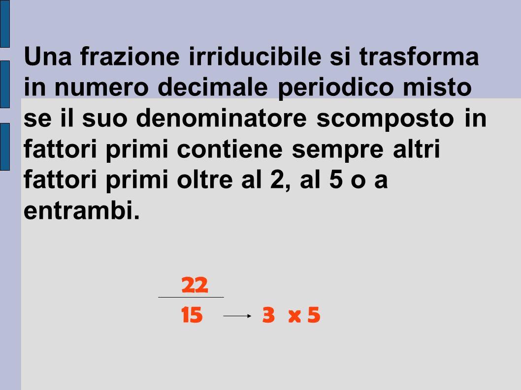Una frazione irriducibile si trasforma in numero decimale periodico misto se il suo denominatore scomposto in fattori primi contiene sempre altri fattori primi oltre al 2, al 5 o a entrambi.