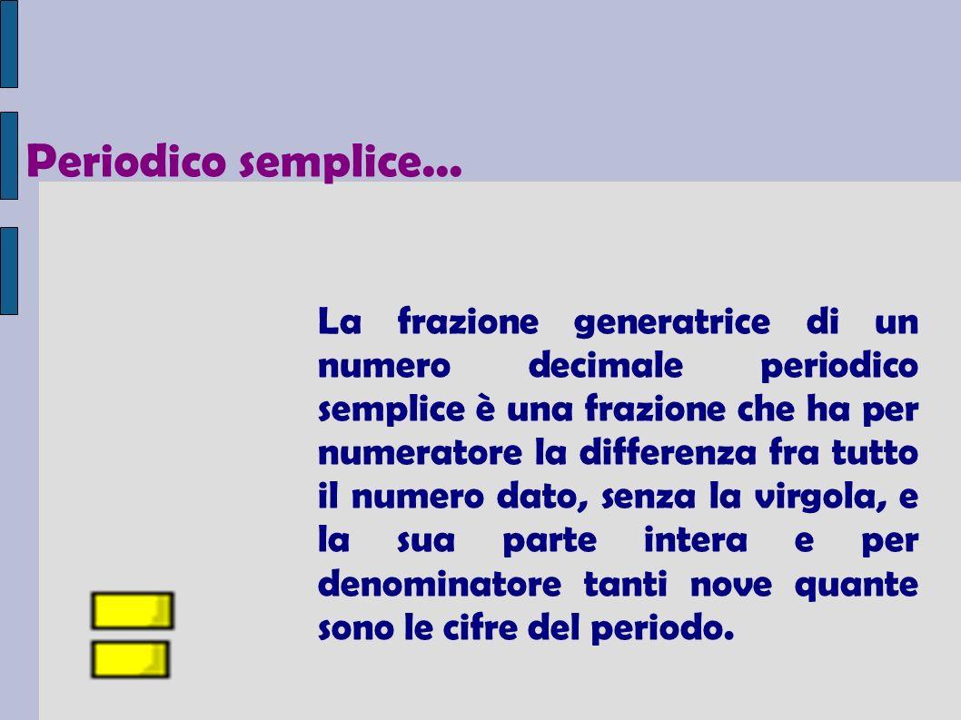 La frazione generatrice di un numero decimale periodico semplice è una frazione che ha per numeratore la differenza fra tutto il numero dato, senza la virgola, e la sua parte intera e per denominatore tanti nove quante sono le cifre del periodo.