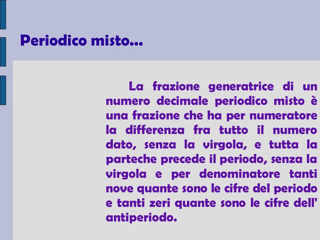La frazione generatrice di un numero decimale periodico misto è una frazione che ha per numeratore la differenza fra tutto il numero dato, senza la virgola, e tutta la parteche precede il periodo, senza la virgola e per denominatore tanti nove quante sono le cifre del periodo e tanti zeri quante sono le cifre dell antiperiodo.