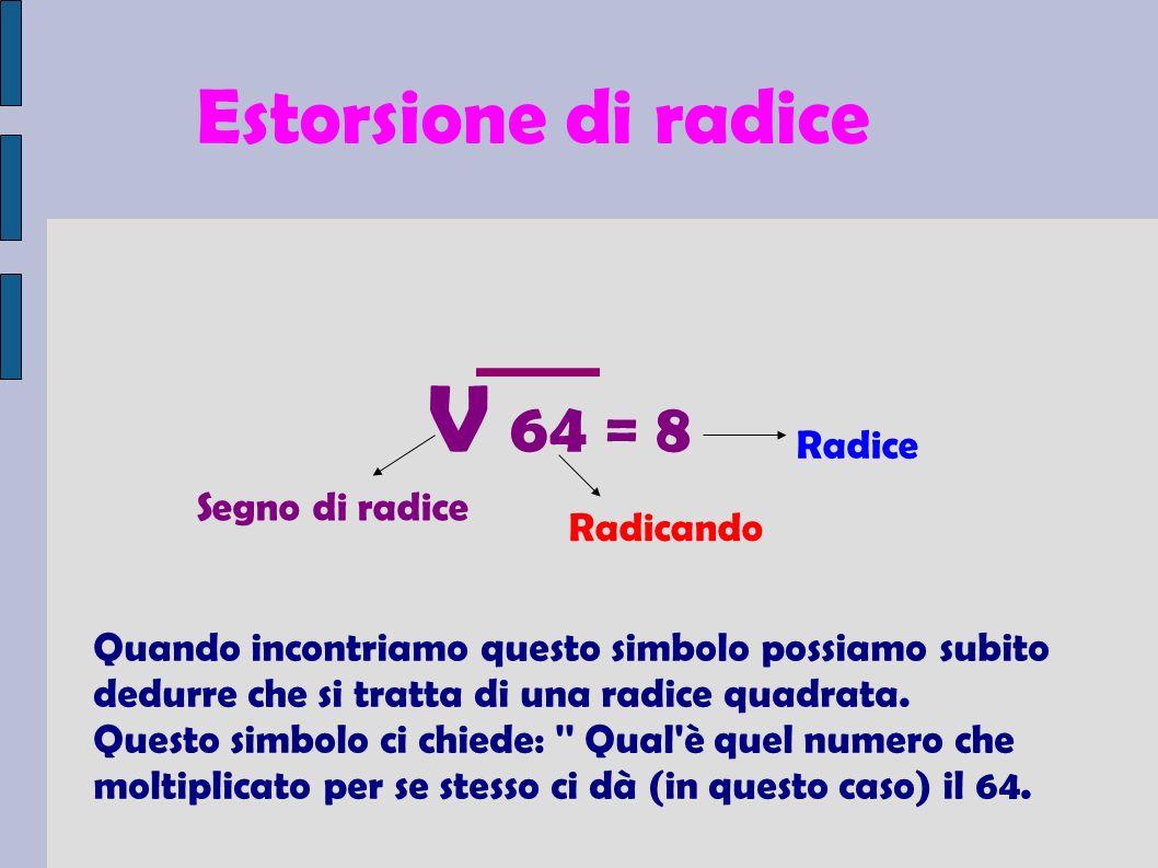 Estorsione di radice V 64 = 8 Quando incontriamo questo simbolo possiamo subito dedurre che si tratta di una radice quadrata.