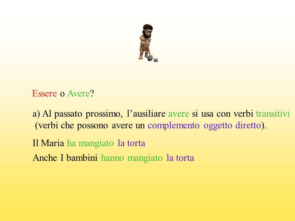 Essere o Avere? a) Al passato prossimo, lausiliare avere si usa con verbi transitivi (verbi che possono avere un complemento oggetto diretto). Il Mari